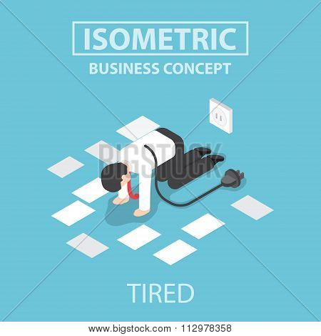 Isometric Tired Businessman Unplug And Stop Working