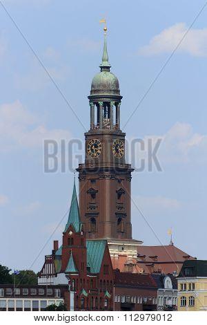 The spire of St. Michael's Church in Hamburg Germany