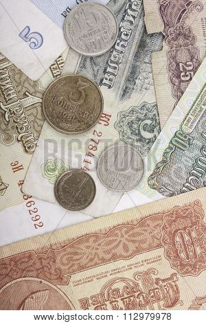 banknotes and coins obsolete rubles currency of the Soviet Union