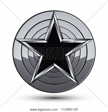 Sophisticated Design Geometric Symbol, Stylized Pentagonal Black Star Placed On Round Silver Surface