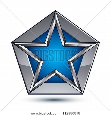 Silvery Blazon With Pentagonal Blue Star, Can Be Used In Web And Graphic Design, Vector.