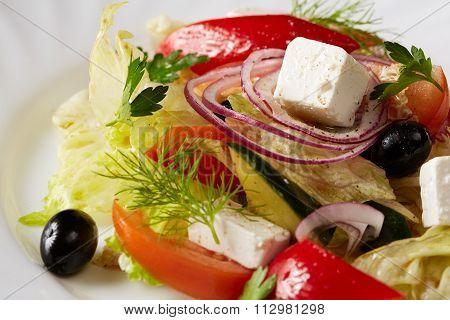 Traditional Greek salad. Mediterranean cuisine