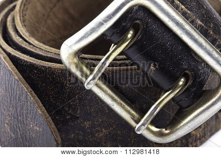 closeup of old leather belt