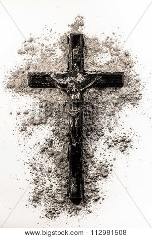 Black Christian Cross Covered In Ashes