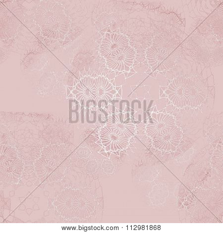 Seamless floral pattern pink white shiny