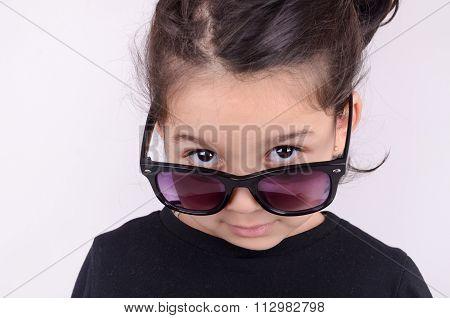 Fashion Beautiful Kid With Glasses