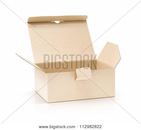 Cardboard Kraft Box Open And Isolated On White Background