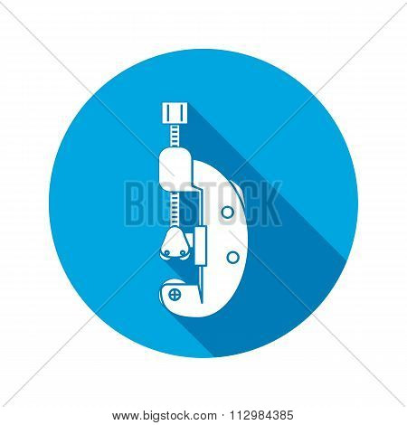 Cutter, clamp icon. Repair, fix, building, connection, clip tool symbol. Round circle flat icon with