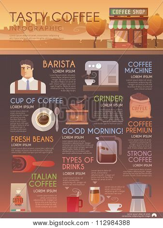 Vector infographic brochure. Drinks. Coffee.