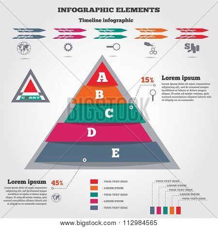 Infographics elements. Pyramid chart, timeline diagram and icons. Modern colored flat banner with fi
