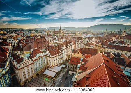 Famous scene, cityscape of Prague, Czech Republic.