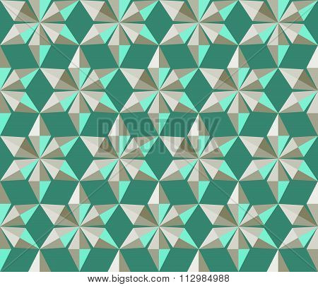 Seamless christmas pattern. Crystal snowflakes, shining snowfall. Silver star silhouettes on green b