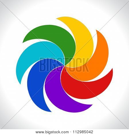 Abstract colorful icon. Rainbow style spiral colored illustration on white background. Vector