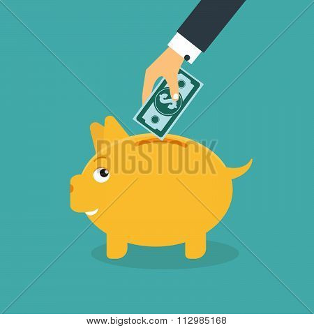 Piggy Bank Money Box With Hand
