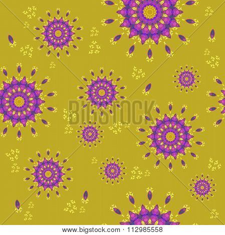 Seamless floral pattern purple yellow ocher