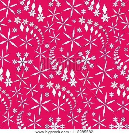 Seamless christmas pattern. Snowflakes, crystals on magenta, pink background. Gray star silhouettes.