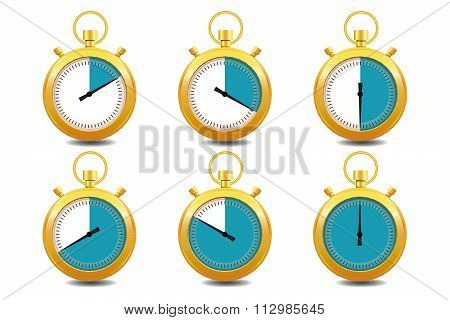 Colorful Stopwatches Gold Icon Set