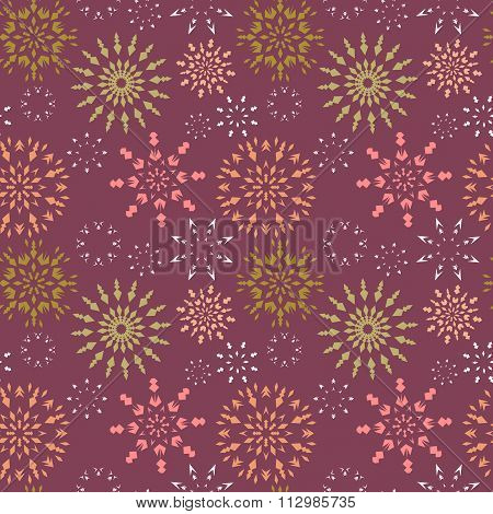 Christmas seamless pattern. Light color snowflake signs on dark red, vinous background. Winter theme