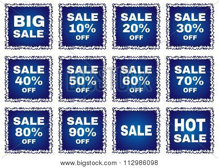 Big sale tags with transparent inscriptions.