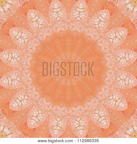 Seamless floral ornament orange white