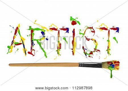 Multicolor Paint Painted Word Artist