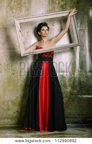 Beautiful Woman In A Red And Black Dress