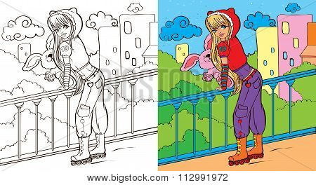 Colouring Book Of Girl With Toy