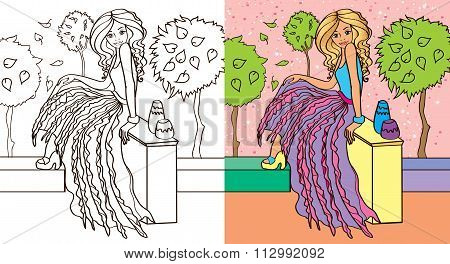 Colouring Book Of Girl In Skirt