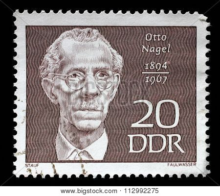 GDR - CIRCA 1970: A stamp printed in GDR shows Otto Nagel (1894-1967), painter, circa 1970