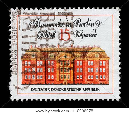GDR-CIRCA 1971: A stamp printed in GDR from the Famous Buildings in Berlin issue shows castle Kopenic, circa 1971.