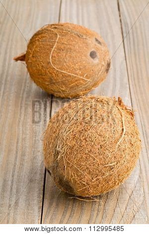 Whole Coconuts On Table