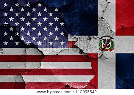 Flags Of Usa And Dominican Republic Painted On Cracked Wall