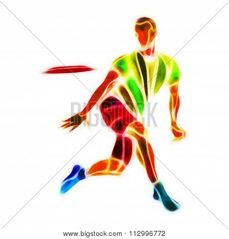 Sportsman Throwing Flying Disc. Ultimate Game.