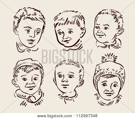 Hand drawn sketch set children. Vector illustration