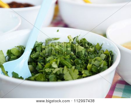 Celery Coriander Cilantro Green Onion sliced mixed