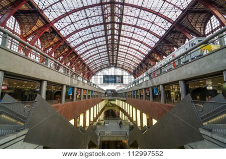 Antwerp, Belgium - May 11, 2015: People In Main Hall Of Antwerp Central Station