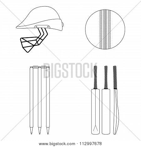 Cricket Equipment Icons Set. Sketch Black Outlined Illustration Isolated On White. Vector.