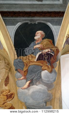 LJUBLJANA, SLOVENIA - JUNE 30: Saint Peter the Apostle, fresco on the ceiling  of the Cathedral of St Nicholas in Ljubljana, Slovenia on June 30, 2015