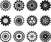 Постер, плакат: Collection of gear wheels isolated on white background Set of gears