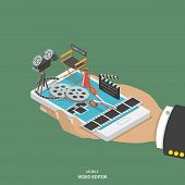 Mobile video editor flat isometric vector concept. poster