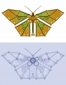image of gizmo  - Robotic butterfly in rendered and blueprint styles - JPG