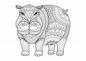 Постер, плакат: Hippo For Coloring Book