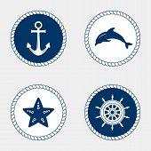 Marine Symbol. Nautical Design Elements. poster