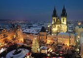 stock photo of bohemia  - Old town square in Prague at Christmas time - JPG