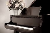 foto of grand piano  - Aged Photo of Grand Piano With Flower Bouquet - JPG