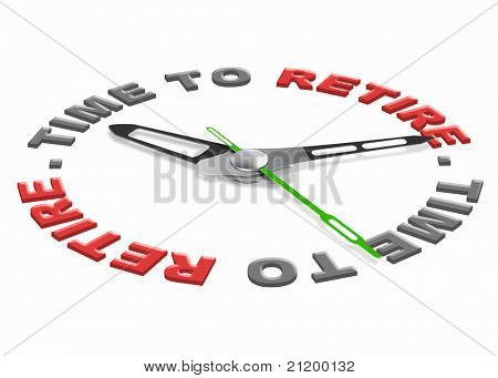 Time to retire start retirement plan to enjoy carefree golden years with full retirement funds isolated clock indicating time with text