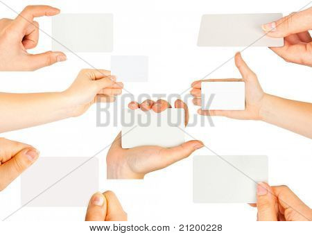 Collection of card blank in a hand on white background