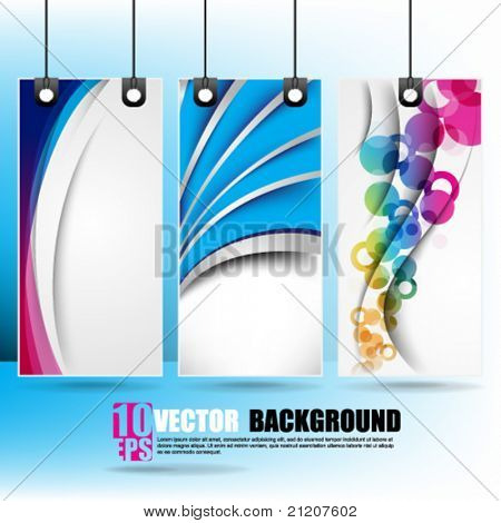 eps10 vector set of hanging multicolor banner