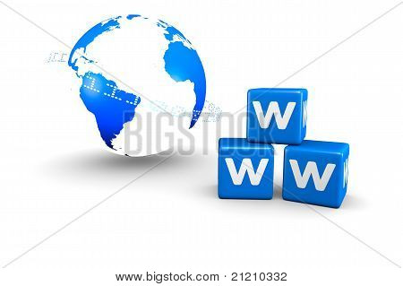 World globe and World Wide Web text
