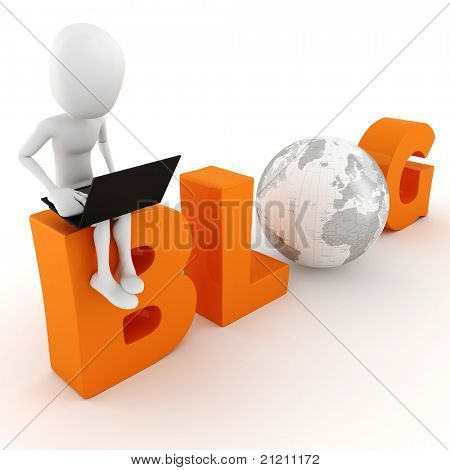 3d man reading a blog